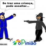 Assalto só com criança – Cartoon de Carlos Moreira