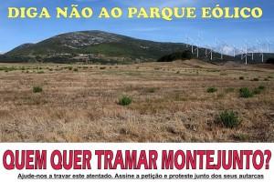 Cartaz contra a construção do Parque Eólico do Cercal